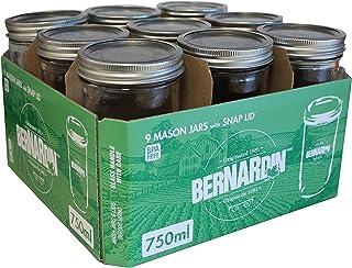 Bernardin 750ml Wide Mouth Jars, 9-Pack, Clear