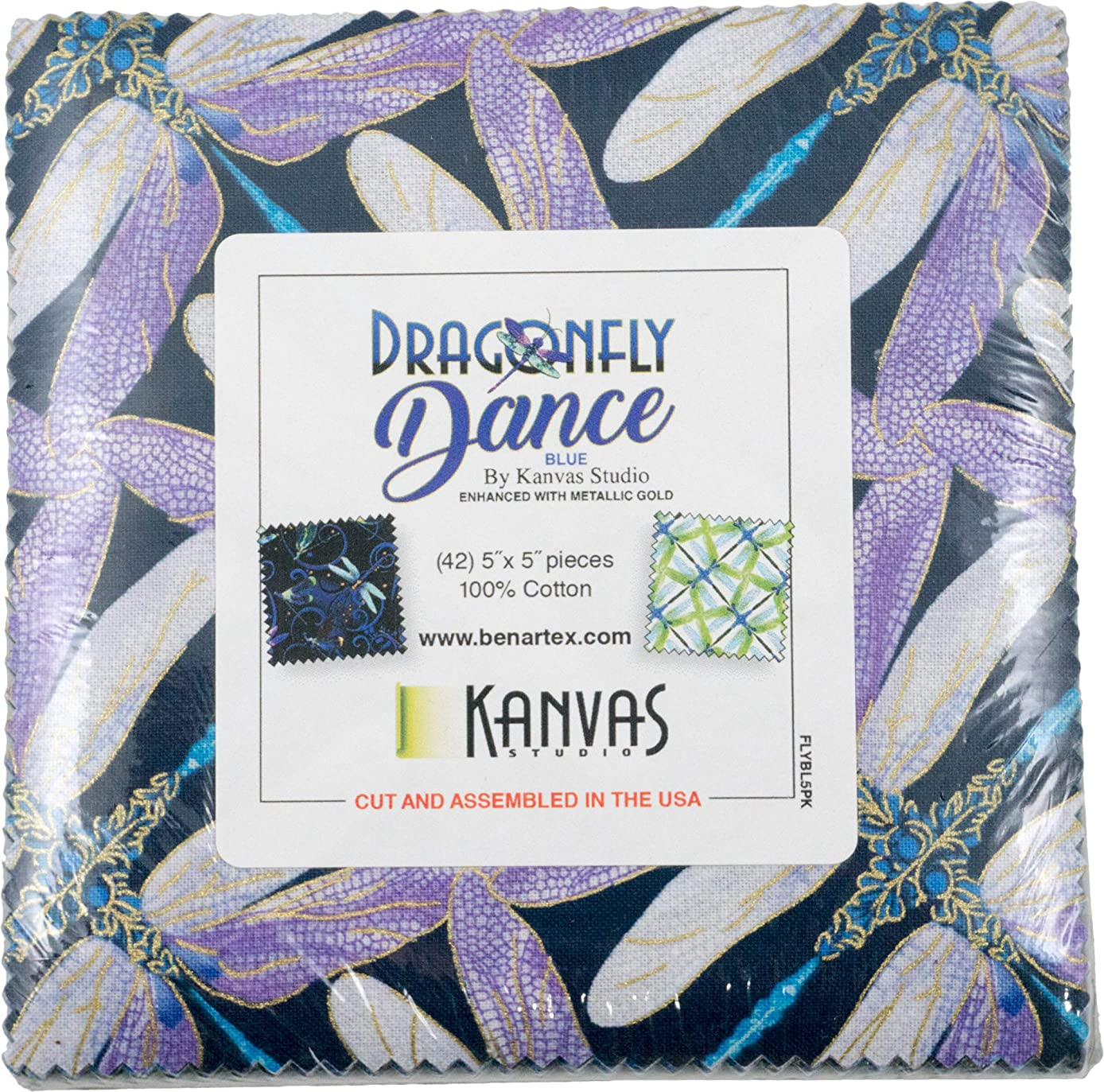Kanvas Studio Dragonfly Dance Blue 5X5 Pack 42 5-inch Squares Charm Pack Benartex, Assorted