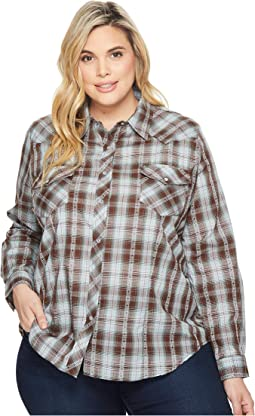 Roper - Plus Size 1204 Chocolate & Turquoise Plaid
