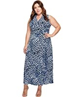 Vince Camuto Specialty Size - Plus Size Leopard Song Halter Maxi Dress