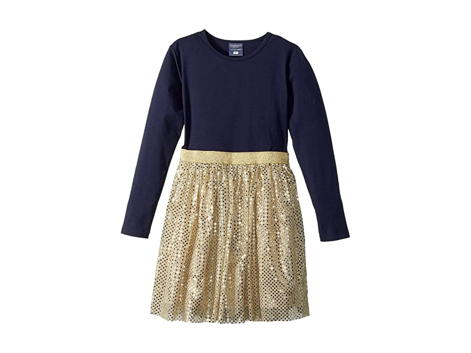 Toobydoo Party Dress (Infant/Toddler/Little Kids/Big Kids) (Navy/Gold) Girl
