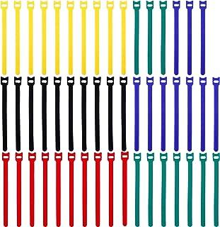 Correas de Cable Reutilizables Cierres Lonas de Microfibra Tiras de Cables 20CM Ajustable Multiuso Sujetador de la Cuerda del cable del Organizador Multicolor (50 piezas)