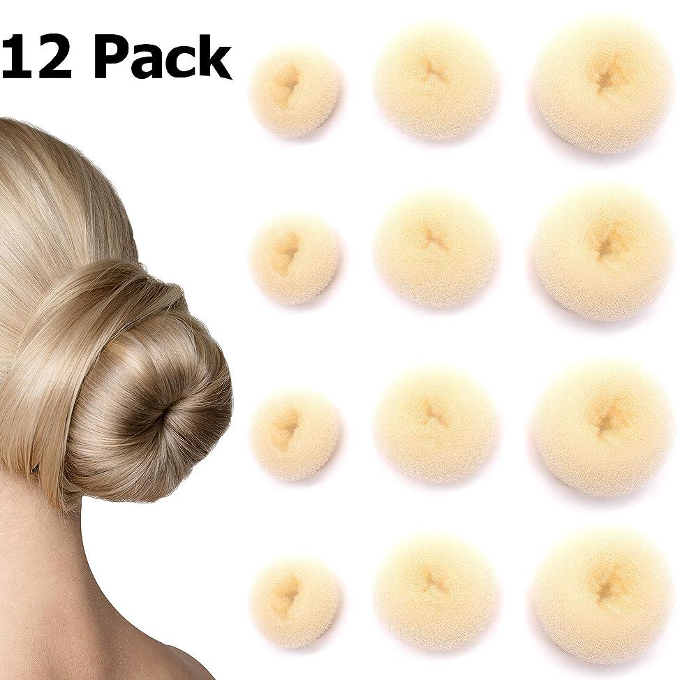 Donut Bun Maker - 12 Pack - Nylon Hair Bun Shaper (Blonde)