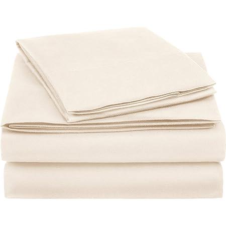 Amazon Basics Essential Cotton Blend Bed Sheet Set, Twin, Beige