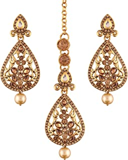 Gold Plated Traditional Earrings & Maang Tikka for Women TE2404FL