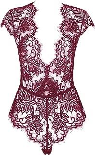 AvaLolita Women's Lingerie Floral Lace Bodysuit Deep V Babydoll