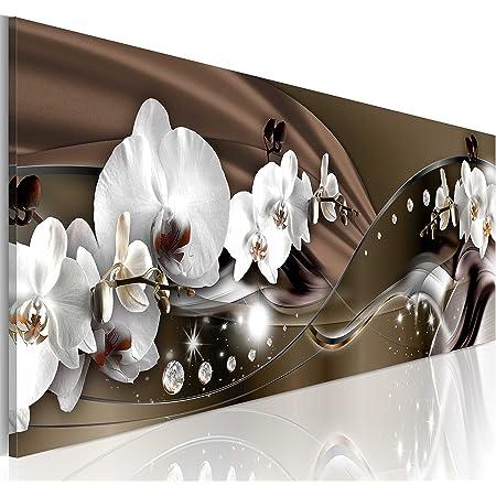 B&D XXL murando Impression sur Toile intissee 120x40 cm 1 Piece Tableau Tableaux Decoration Murale Photo Image Artistique Photographie Graphique orchidée Fleurs b-A-0072-b-c