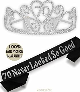 70th Birthday Tiara and Sash, Happy 70th Birthday Party Supplies, Black Glitter Satin Sash and Crystal Tiara Birthday Crown for 70th Birthday Party Supplies and Decorations (Silver)
