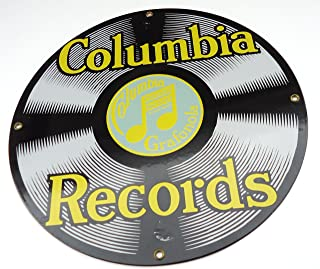 Columbia Records Porcelain Enamel Vintage Reproduction Music Advertising Round Sign Ande Rooney Signs