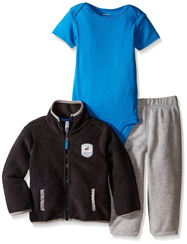 Carter's Baby Boys' 3 Piece Cardigan Set - Charcoal - 3 Months