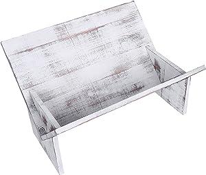 MyGift geneigt Desktop aus rustikalem Holz Bücherregal Medium Vintage Whitewash
