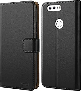 HOOMIL Case Compatible with Honor 8, Premium Leather Flip Wallet Phone Case for Huawei Honor 8 Cover (Black)