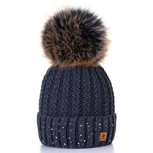 4sold Womens Ladies Winter Hat Wool Knitted Beanie with Large Pom Pom Cap  SKI Snowboard Hats dc84fdd4b43