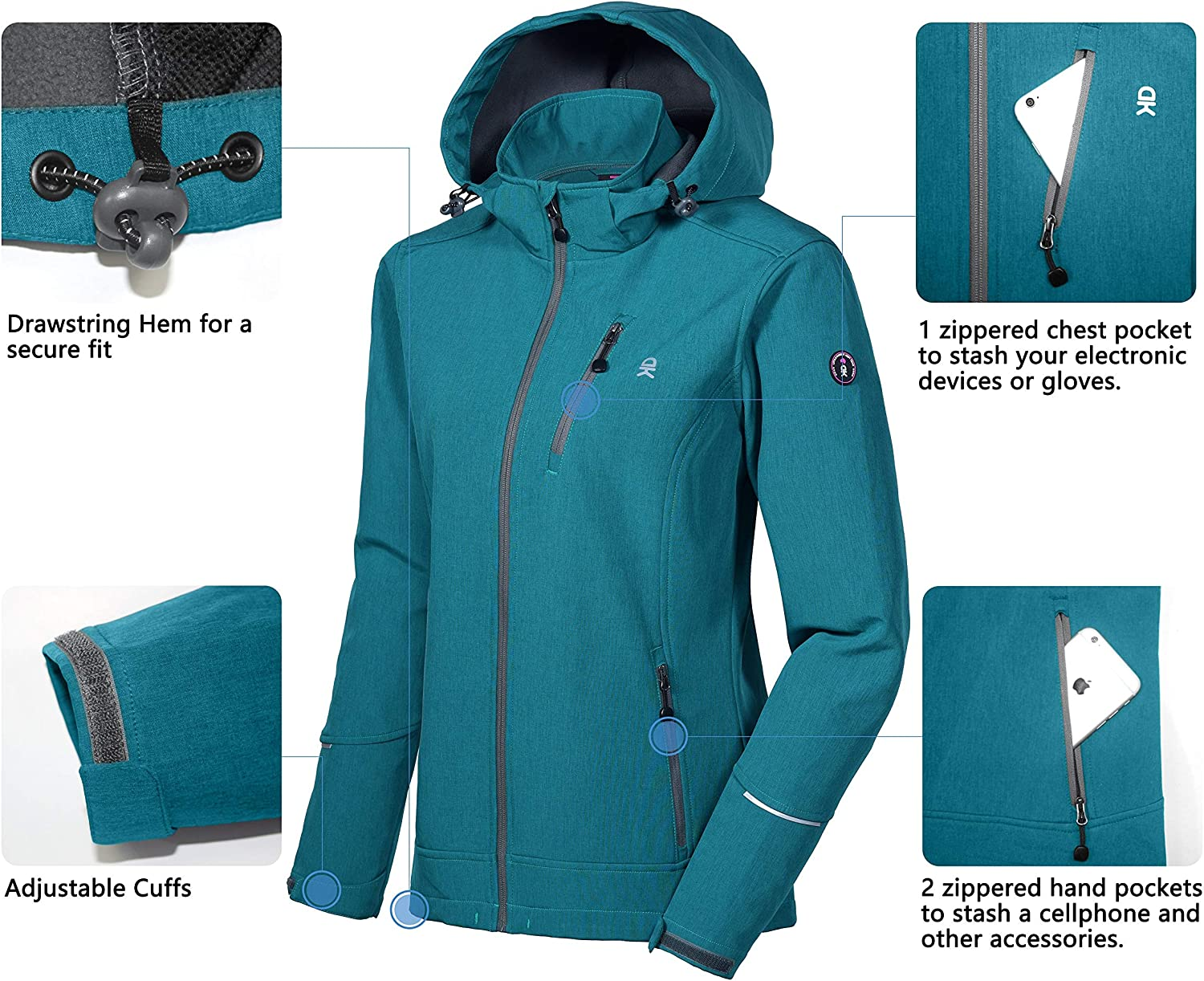 Little Donkey Andy Womens Softshell Jacket Ski Jacket with Removable Hood Fleece Lined and Water Repellent