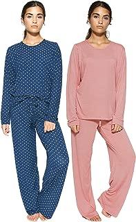 2 Pack:Women's Pajama Set Crew Neck Printed Long Sleeve Top and Pants Loungewear