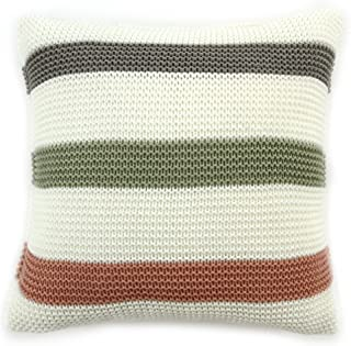 EverGrace Knitted Cushion Cover Decorative for Sofa or Couch 100% Acrylic Striped Pillowcase for Home Décor W18 x L18 (Pink)