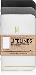 Lifelines Small Pocket Dotted Notebook Gold Line   Mini Bullet Journal for to-Do Lists, Memos, Sketches   Numbered Dot Grid Pages 3.5 x 5.5 inches (Pack of 3)