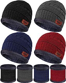 طقم من 4 قطع من قبعات ووشاح محبوكة دافئة قبعة صغيرة وشاح دائري مع بطانة من الصوف للأطفال الأولاد والبنات (5-14 عام)