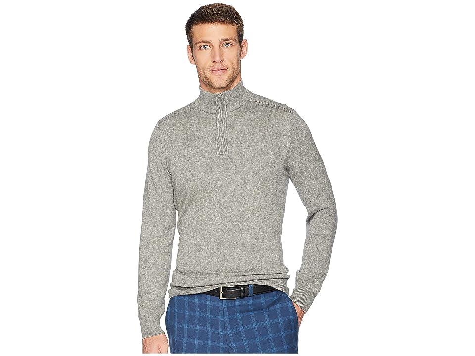 Perry Ellis Cotton Modal 1/4 Zip Sweater (Smoke Heather) Men