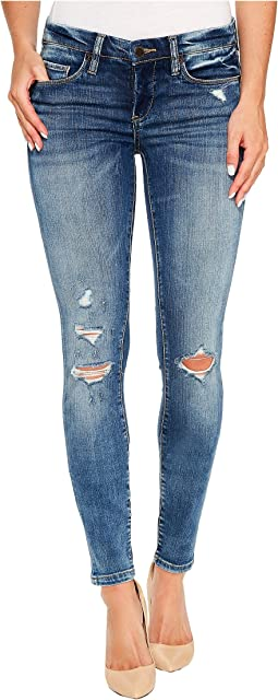 Denim Distressed Skinny with Studs On Back in Coffee Nap