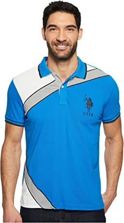 Slim Fit Color Block Short Sleeve Stretch Pique Polo Shirt