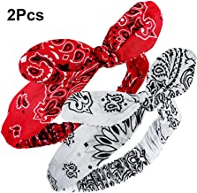 Bandana Knot Headbands Retro Print Headbands Paisley Print Headband Headwrap for Girls and Women (Style B, 2 Pieces)