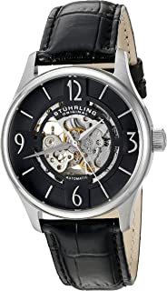 Stuhrling Original Men's 'Legacy' Automatic Stainless Steel and Black Leather Dress Watch (Model: 557.02)
