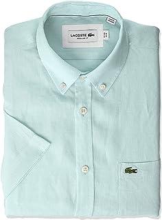 Lacoste Men's S/S REG FIT Solid Button Down Linen Shirt, Aquarium, XL