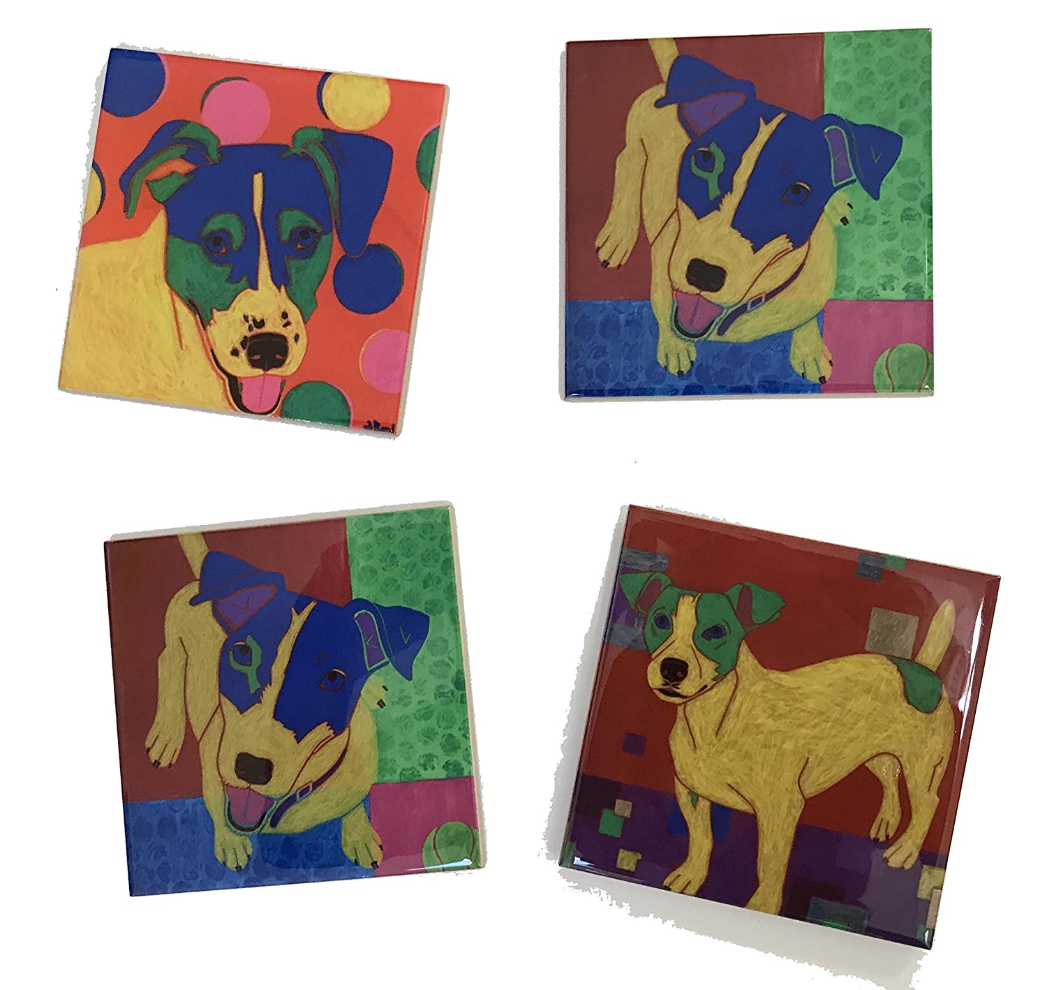Jumping Jack Russell Cheap Tile Art Coaster Coasters Dog by A Set Ranking TOP15