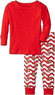 New Jammies Baby Girls' Organic Pajamas Gingerbread Waves Red Top