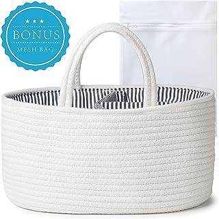 We Bloom Baby Diaper Caddy Organizer – Portable Holder Bag for Changing Table & Car – Nursery Storage Cotton Rope Bin – Newborn Registry for Boys & Girls Shower Gift Basket