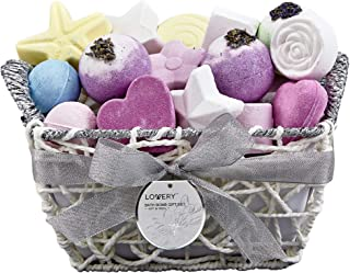 Bath Bombs Gift Set for Women – 17 Large Bath Fizzies in Assorted Colors, Shapes & Scents – Bath and Body Spa Set with Shea & Coco Butter, Dry Flower Petals – Ultra Lush Spa set in Hand Weaved Basket