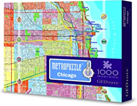 Geotoys — Metropuzzle Chicago — 1000 Piece Puzzles for Adults — Detailed City Map Geography Jigsaw Puzzle — United States City Map Poster Included