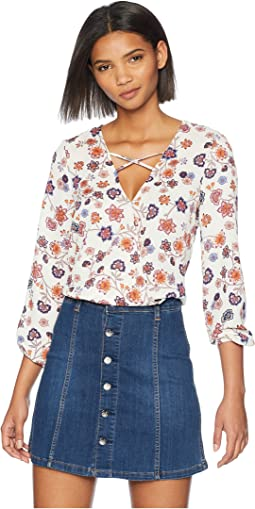 "Allora ""Folkloric Wildflower"" Printed Crepe de Chine Top"