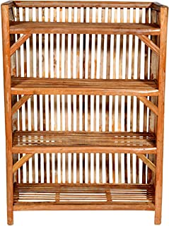 Wooden Bamboo 4-Tier Books & Newspapers/Gardening Planter/Shoes & Slippers Shelves Rack Closet Organizer Cabinet Utility S...