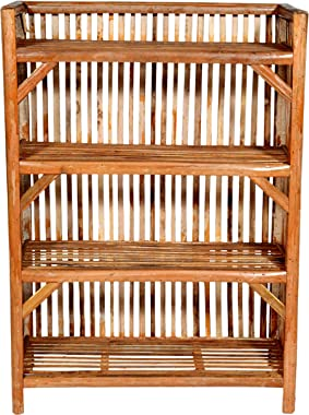 MyCrystal India || Bamboo Cane (Bait) Strong Shoe Rack Wooden Slipper Stand Utility Rack Planter Stand Bookshelf Space Saving