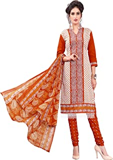 Minu salwar Cotton Printed Suit sets Orange(Pbeauty_6011_0)