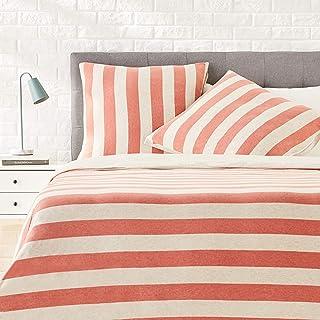 Amazon Basics Parure de lit en jersey, larges rayures - 240 x 220 cm / 65 x 65 cm, Rouge
