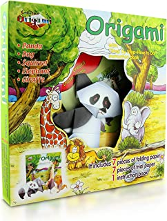 Origami Kit for Kids Field Animals Edition – 14 Pieces of Origami Paper – 5 Origami Animals to Create – Origami Instruction Book for Children and Beginners – Starter Kit