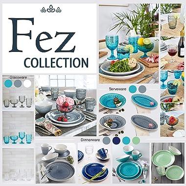 Euro Ceramica Fez Collection Reactive Crackle-Glaze 16 Piece Double Bowl Dinnerware Set, Teardrop Mandala Design, Service for