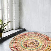Eleet Handcrafted Reversible Cotton Area Rug - Multicolor Hand Woven Braided Rug Rag (4 Feet Round Cotton + Jute)