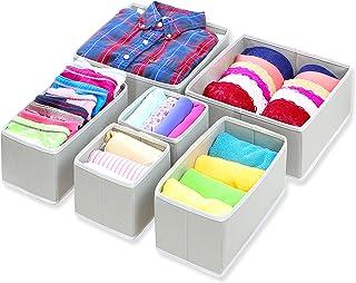 Simple Houseware Foldable Cloth Storage Box Closet Dresser Drawer Divider Organizer Basket Bins for Underwear Bras, Gray (Set of 6)