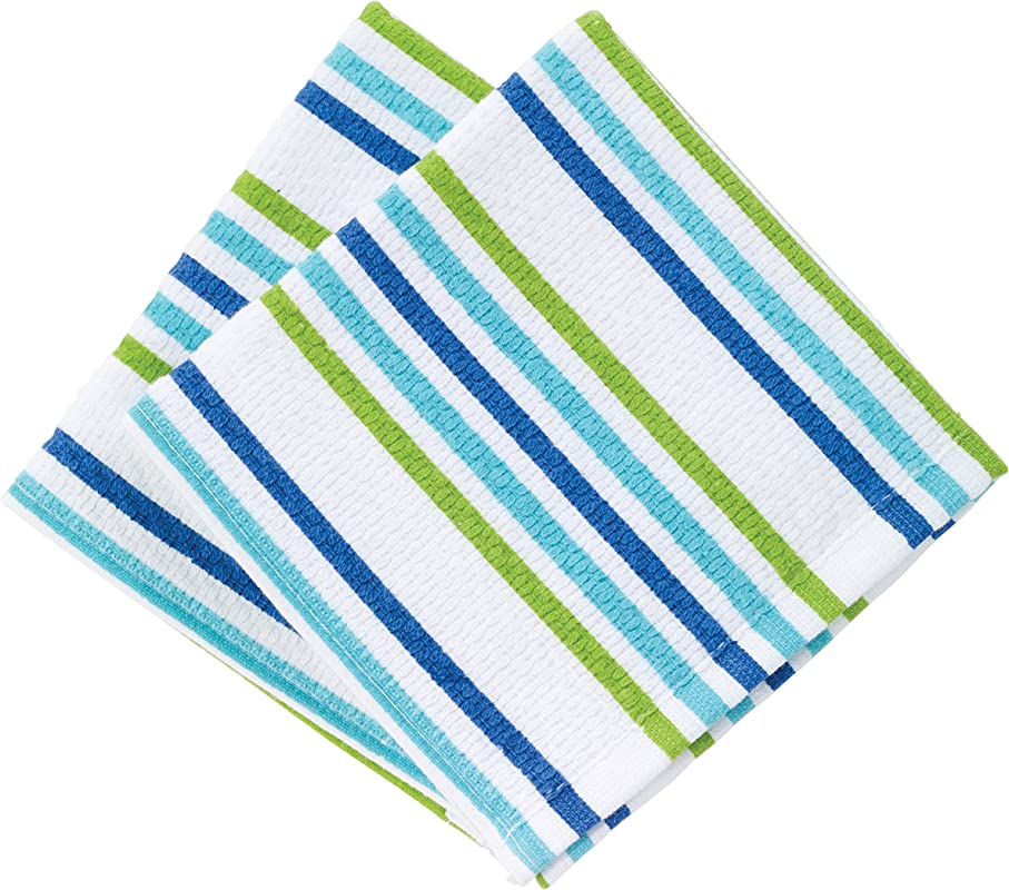T Fal Textiles Highly Absorbent 100 Cotton Double Sided Printed Dish Cloths 12 X 12 Set Of 2 Cool Stripe Pattern