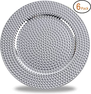 Fantastic:) Round 13 Inch Plastic Charger Plates with Eletroplating Finish (6, Hammer Silver)