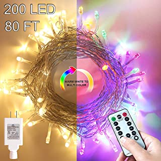 Christmas Lights,Multicolor Outdoor String Lights,Warm White Led Christmas tree Lights,Room Lights Color Changing White Christmas Lights,Fairy Lights with Remote&Timer for Easter Pastel,Party,Wedding