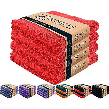 Werch 4x Randloses Microfasertuch Für Autopflege Ultraweich Und Lackschonend Dank 400 Gsm Mikrofasertücher Für Auto Politur 40x40 Cm Poliertuch Für Autolack Rot Auto