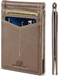 SERMAN BRANDS RFID Blocking Wallet Slim Bifold - Genuine Leather Minimalist Front Pocket Wallets for Men with Money Clip (Slate Gray Rogue)