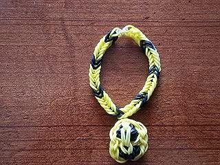 Rainbow Loom Friendship Fishtail Bracelet with Custom Smiley Face Charm - Black and Yellow