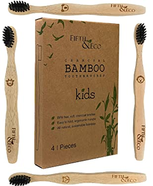 Fifth & Eco -Eco-friendly, Natural Bamboo Toothbrush for Kids | BPA Free, Vegan Toothbrush | 4 pack