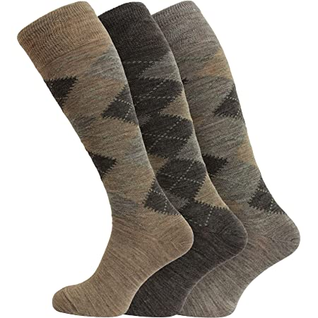 3 Pairs Men's Extra Long Knee High Lambswool Argyle Socks 6-11 Uk, 39-45 Eur
